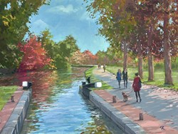 By The Lock, Guildford Canal by Charles Rowbotham - Original Painting on Board sized 16x12 inches. Available from Whitewall Galleries